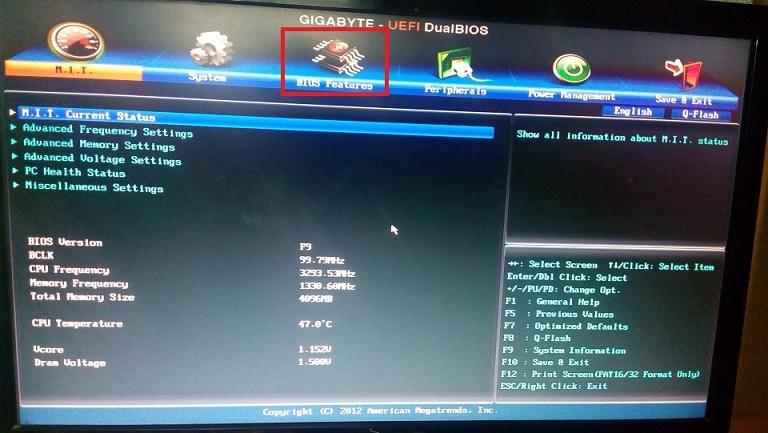 Chọn chế độ BIOS Features