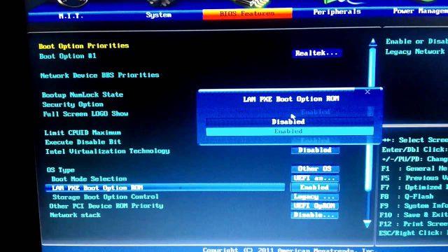 Chọn mục LAN PXE Boot Option ROM chuyển sang chế độ Enabled