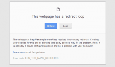 Fix error ERR-TOO-MANY-REDIRECTS WordPress