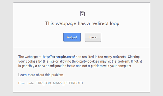 TOO-MANY-REDIRECTS Google Chrome