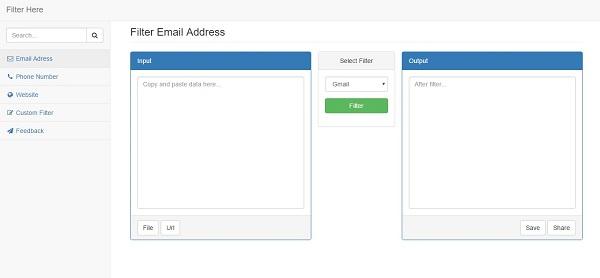 Có thể lọc những địa chỉ email thông dụng hoặc lọc theo địa chỉ tùy chỉnh