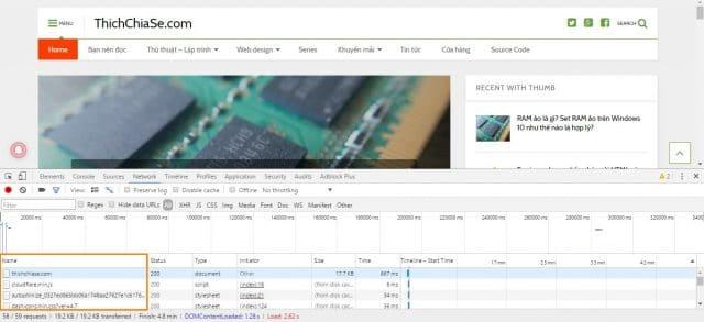 Ở cột Name các bạn di chuột hết tất cả các file để kiểm tra xem có file nào được yêu cầu từ website khác hay không