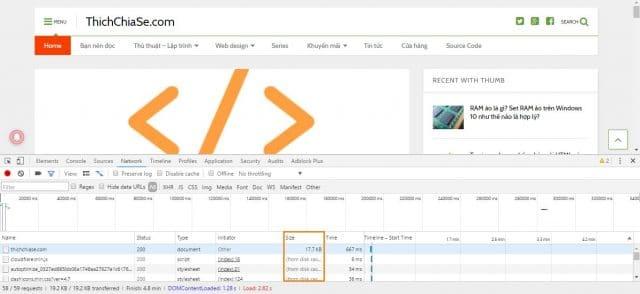 Sau đó bạn sort theo cột Size để kiểm tra website mình có file nào nặng không