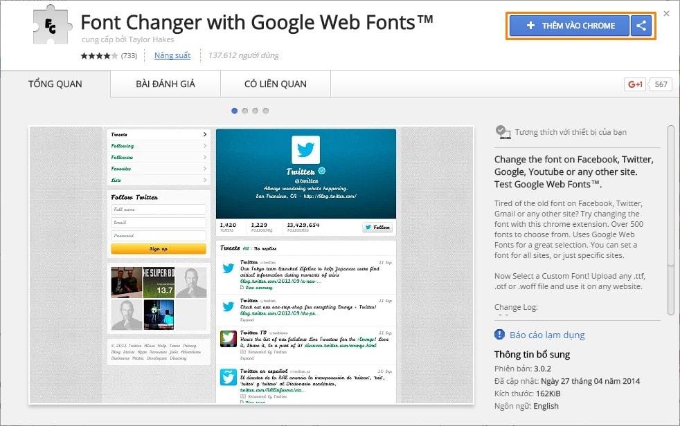 Thay đổi font chữ trên website tùy thích với Font Changer extension
