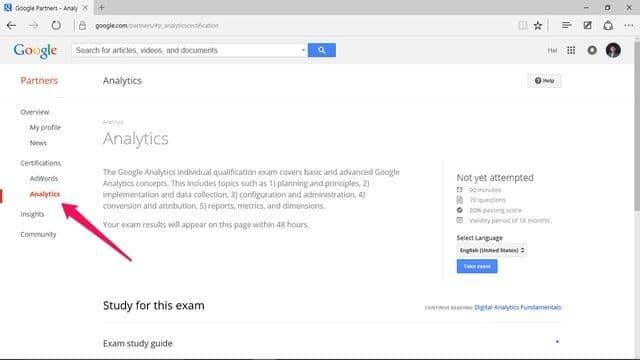 Chứng chỉ Google Analytics