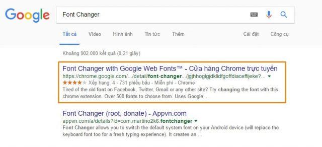 """Truy cập vào Google.com và tìm extension với từ khóa """"Font Changer"""""""