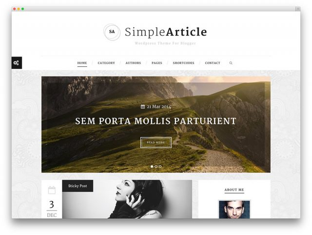 Theme WordPress Simple Article For Personal Blog