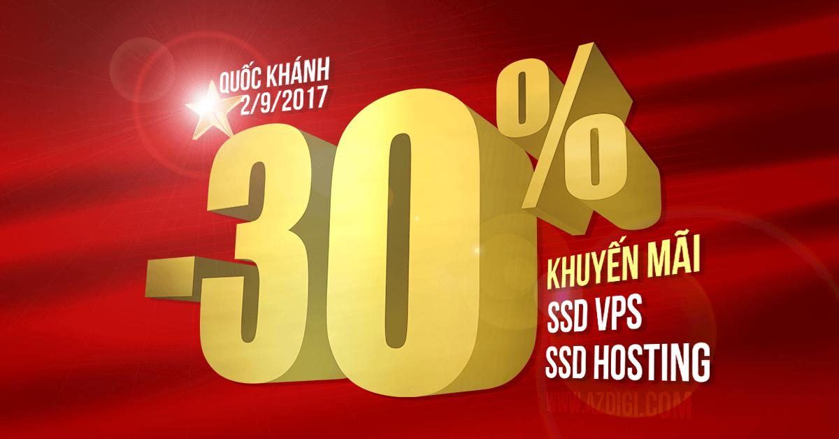 Mã giảm giá AZDIGI -30% Hosting & VPS nhân dịp Quốc khánh 2/9