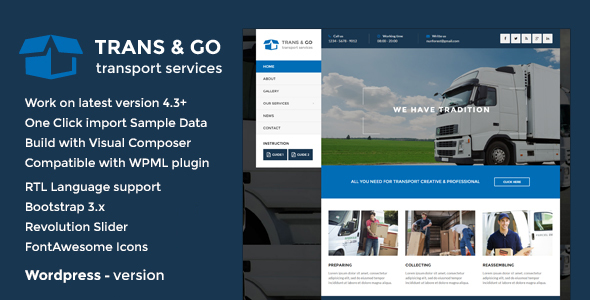 TransGo - Transport & Logistics WordPress Theme ($49 - FREE)