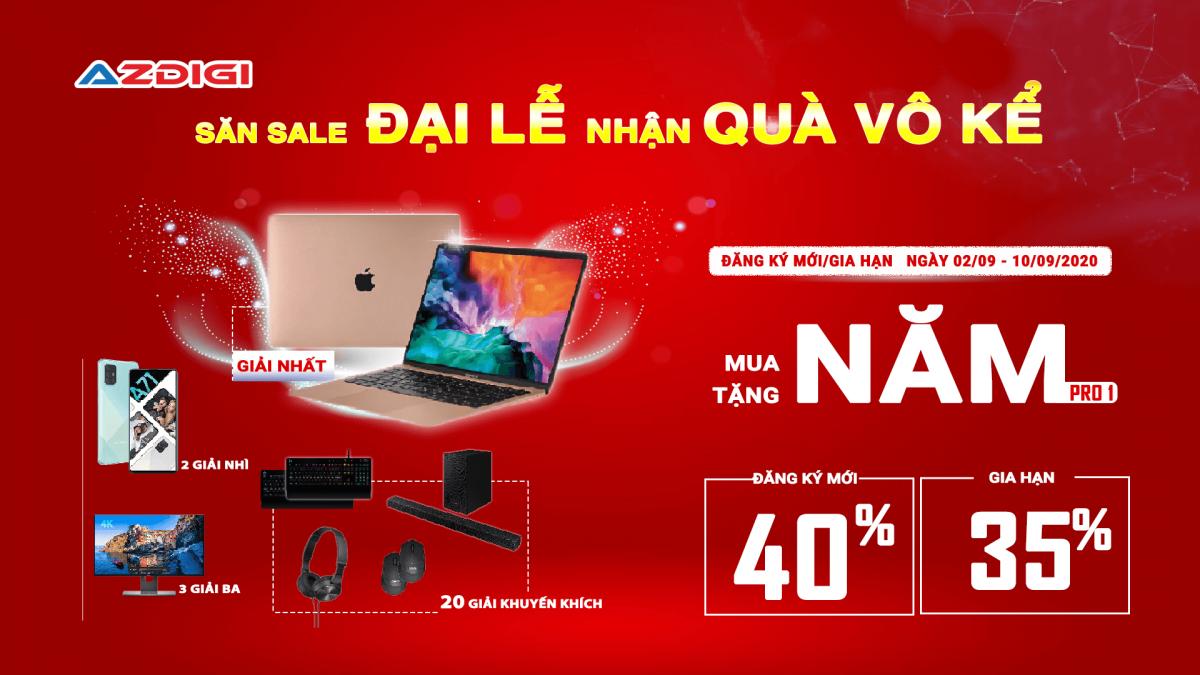 AZDIGI khuyến mãi giảm giá đến 40% – Trúng Macbook 2020